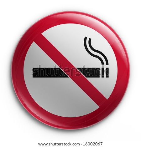 3d rendering of a badge with a no smoking sign - stock photo