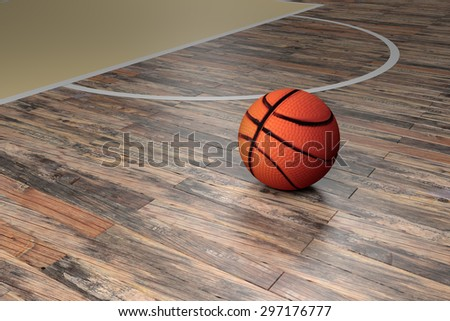 3d rendering of a basketball court - stock photo