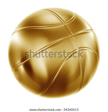 3d rendering of a basketball in gold - stock photo