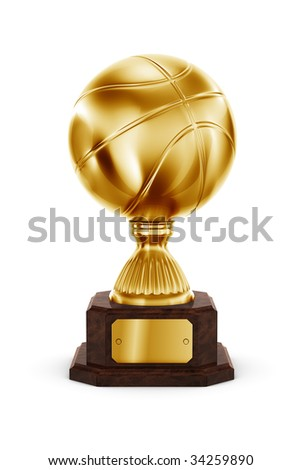 3d rendering of a basketball trophy in gold - stock photo