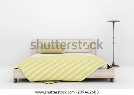 3d rendering of a bed and a lamp - stock photo
