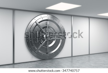 3D rendering of a big locked round metal safe in a bank depository,  a concept of security - stock photo