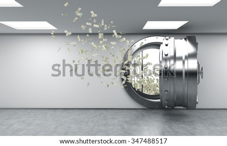 3D rendering of a big open round metal safe in a bank depository with money flying out from it, a concept of affluence - stock photo