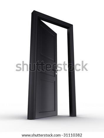 3d rendering of a black open door standing on a white floor - stock photo