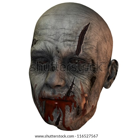 3D rendering of a bloody zombie head - stock photo
