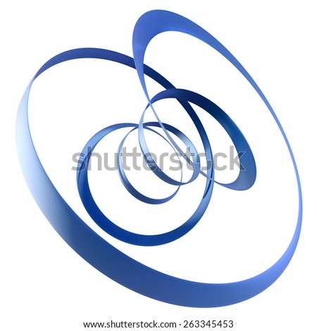 3D rendering of a blue elegant swirling element - stock photo