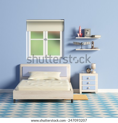 3d rendering of a blue room and an a window - stock photo