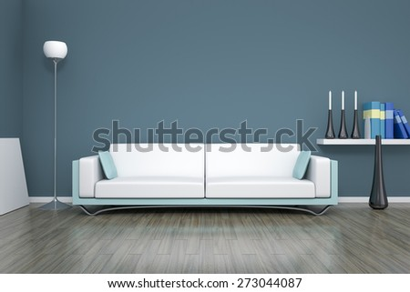 3D rendering of a blue room with a sofa - stock photo