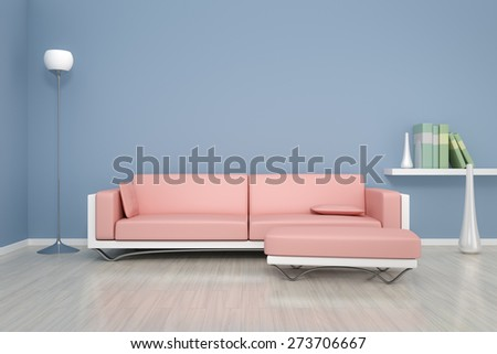 3D rendering of a blue room with a sofa and background for your own content - stock photo