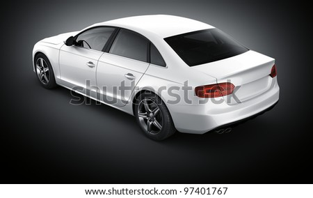 3d rendering of a brandless generic white car of my own design in a studio environemnt - stock photo