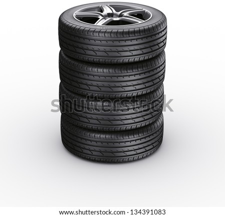 3d rendering of a 4 car tires on a white background - stock photo