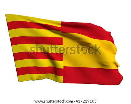 3d rendering of a catalonia and spain mixed flags, symbol of the attempt of secession of catalonia - stock photo