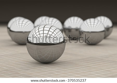 3d rendering of a close-up of steel ball reflecting many colorful balls. Glazed tile floor - stock photo