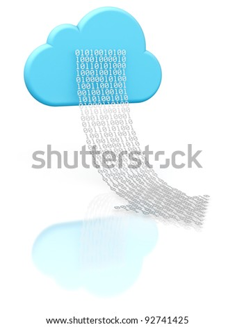 3D rendering of a cloud shape and a digital arrow illustrating cloud computing - stock photo