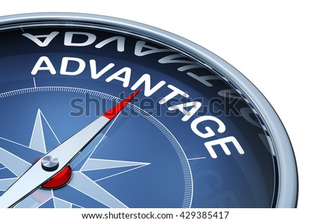 3D rendering of a compass with a advantage icon - stock photo