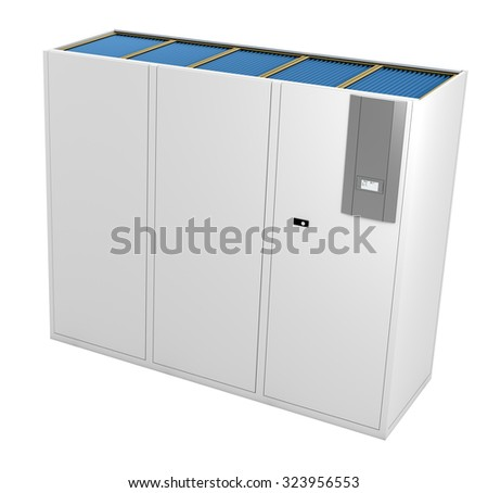 3D rendering of a Computer Room Air Conditioner (CRAC) on white background. - stock photo