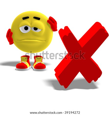 3D rendering of a cool and funny emoticon who says oh no to a x-mark with clipping path and shadow over white - stock photo