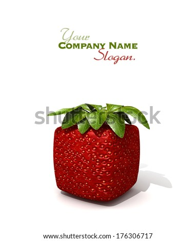 3D rendering of a cubic strawberry against a white background - stock photo