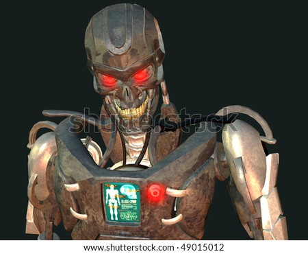 3D rendering of a cyborg upper body - stock photo
