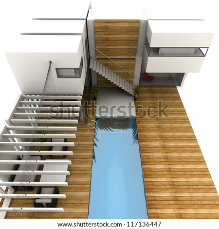 3D rendering of a design house with modern swimming pool - stock photo