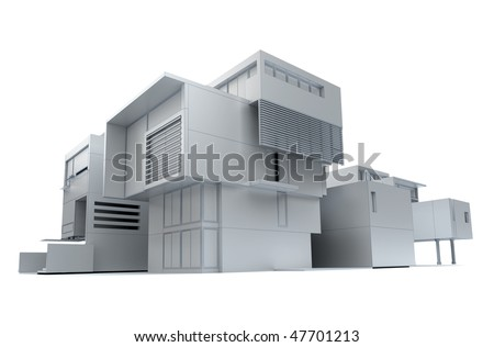 3D rendering of a designer house in white - stock photo