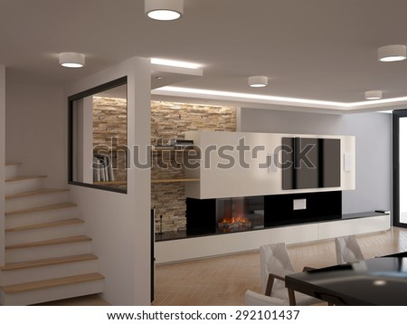 3d rendering of a dining room interior design - stock photo