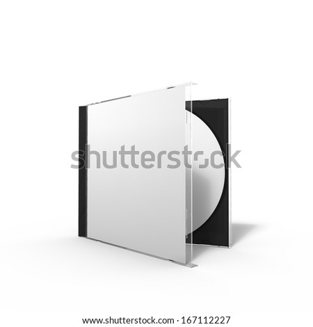 3d rendering of a disc case with glass cover and booklet, isolated on background - stock photo