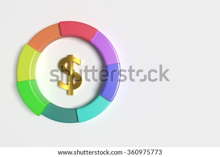 3d rendering of a dollar symbol in the middle of colorful diagram. Illustration. Three-dimensional. - stock photo