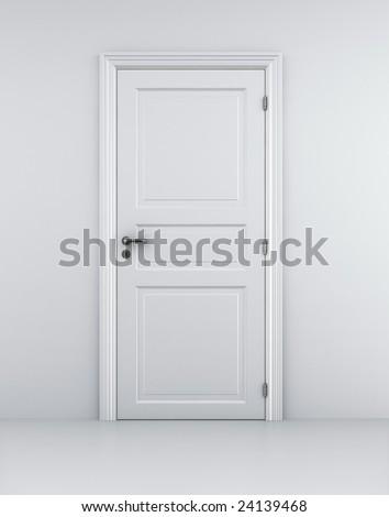 3d rendering of a door in a white room - stock photo