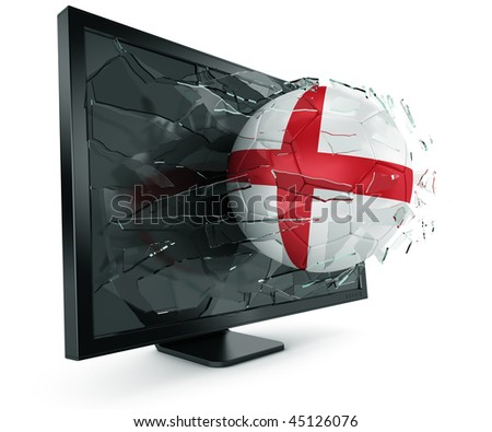 3d rendering of a English soccerball breaking through monitor - stock photo