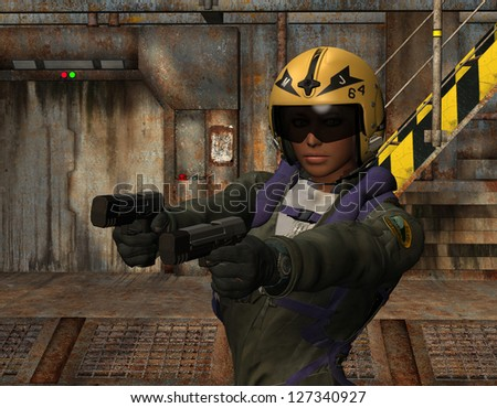 3D rendering of a female soldier with guns - stock photo