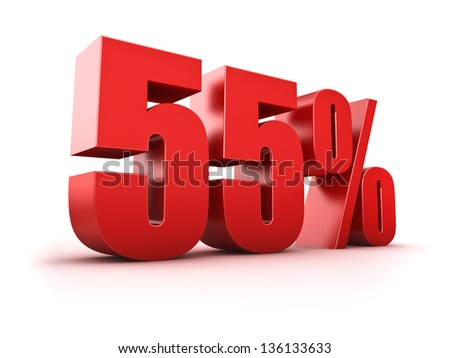 3D Rendering of a fifty-five percent symbol - stock photo