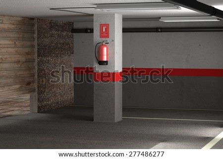 3d rendering of a fire extinguisher on a dirty garage - stock photo