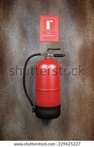 3d rendering of a fire extinguisher on a dirty wall - stock photo