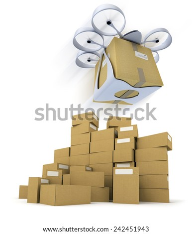 3D rendering of a flying drone carrying a box with a pile of boxes underneath - stock photo