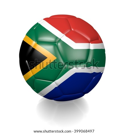 3D rendering of a football soccer ball colored with the flag of South Africa isolated on a white background - stock photo