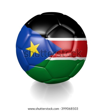 3D rendering of a football soccer ball colored with the flag of South Sudan isolated on a white background - stock photo