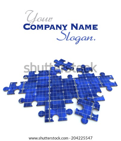 3D rendering of a forming puzzle with a solar panel texture  - stock photo