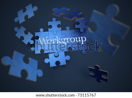 3D rendering of a forming puzzle with the word teamwork - stock photo