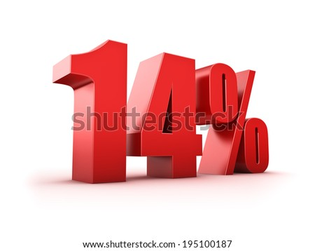 3D Rendering of a fourteen percent symbol - stock photo