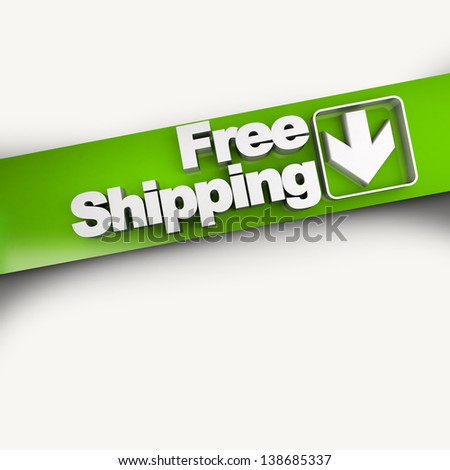 3D rendering of a free shipping concept banner, diagonal - stock photo