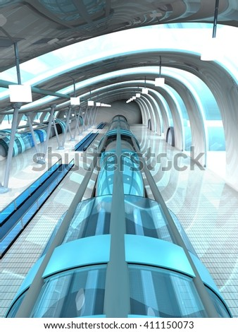 3D rendering of a futuristic subway or train station. 3D architecture visualization.  - stock photo