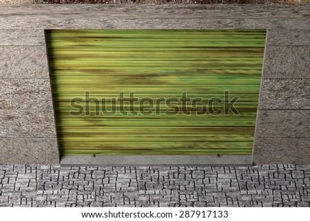 3d rendering of a garage exit door - stock photo