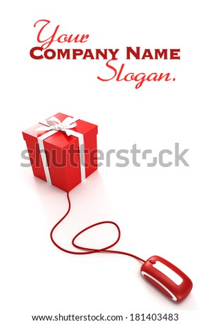 3D rendering of a gift box connected to a computer mouse - stock photo