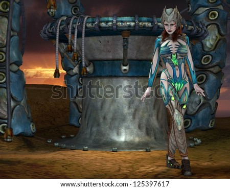 3D rendering of a girl in armor on a gantry - stock photo