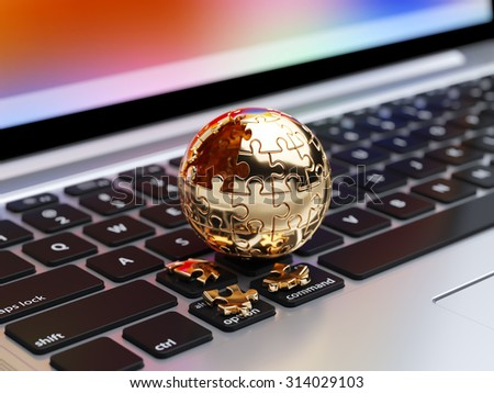 3d rendering of a golden spherical jigsaw puzzle with gold segments on the computer keyboard - stock photo