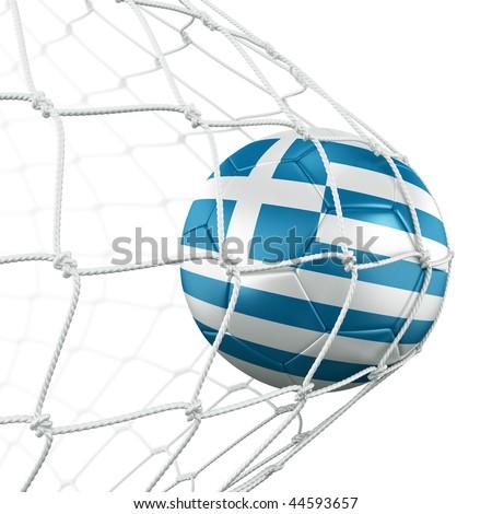 3d rendering of a Greek soccer ball in a net - stock photo