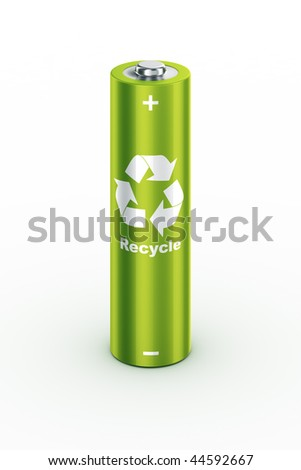 3d rendering of a green battery - stock photo