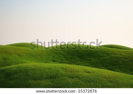 3d rendering of a green field - stock photo