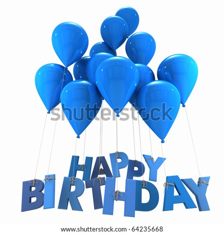 3D rendering of a group of balloons with the words happy birthday hanging from the strings in blue shades - stock photo